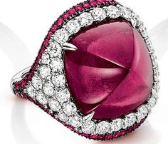 Square Rubellite and Diamond Ring set in 18k White Gold, total diamond weight is 2.00cts and the Rubellite is 16.28cts.