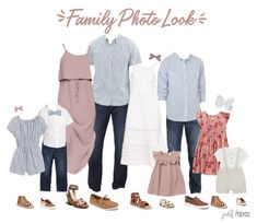family photo outfits Are you looking for what to wear for family pictures? This light pink, chambray, navy and floral look is perfect! This would also be a great option for beach f Disney Family Outfits, Fall Family Picture Outfits, Spring Family Pictures, Family Picture Colors, Family Pictures What To Wear, Family Portrait Outfits, Beach Picture Outfits, Family Posing, Family Portraits
