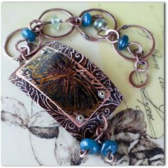 Industrial Flight Etched Copper and Glass Bracelet