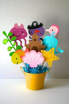 Large Sea Life centerpiece without container, Sea Life Birthday party, Sea Life theme Little Mermaid Birthday, Little Mermaid Parties, Ocean Party, Sea Crafts, Under The Sea Party, Baby Shower Centerpieces, 1st Birthday Parties, Baby Birthday, First Birthdays