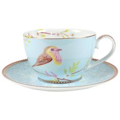 Buy Pip Studio Early Bird Cappuccino Cup and Saucer, Blue Online at johnlewis.com