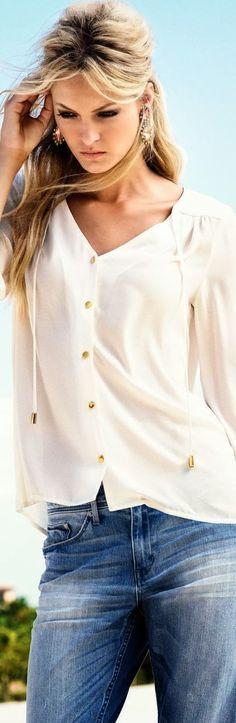 Classic white shirt and denim. Via @ajames0915. #denim #whiteshirt