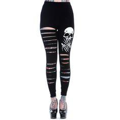 Gescheurde legging met schedel print zwart/wit - horror