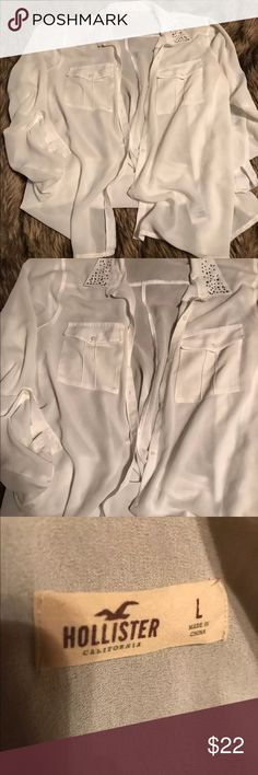 Hollister Flowy Shirt • women's size large • button down • white with jeweled collar • fast same day shipping Hollister Tops Blouses