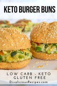 Keto Buns For Burgers, Low Carb Burger Buns, Keto Burger, Burger Recipes, Burger Bread, Healthy Bread Recipes, Low Carb Recipes, Ketogenic Recipes, Free Recipes