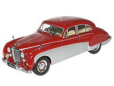 This Jaguar Mark VIII Diecast Model Car is Red and Grey and features working wheels. It is made by Oxford Diecast and is scale (approx. Jaguar Models, Diecast Model Cars, Red And Grey, Buses, Scale Models, Hot Wheels, Oxford, Trucks, Toys
