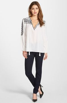 Two by Vince Camuto Peasant Blouse & Classic Skinny Jeans available at #Nordstrom