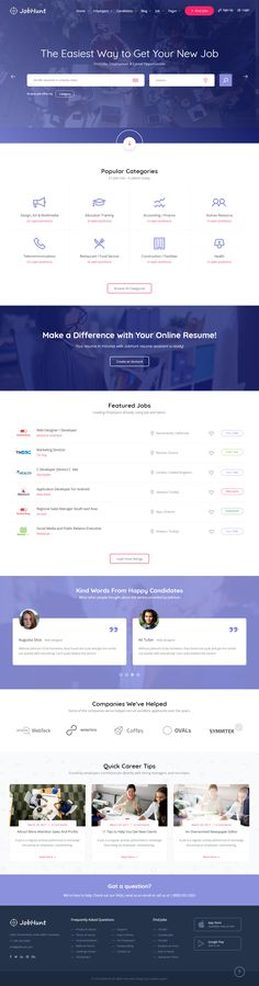 JobHunt is Premium Responsive Retina HTML5 template. Parallax Scrolling. #Bootstrap4Framework. If you like this #JobBoardTemplate visit our handpicked list of best #JobBoardWebsite Templates at: http://www.responsivemiracle.com/best-html5-job-board-website-templates-2018/