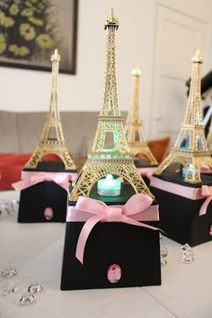 Paris Eiffel Tower Centerpiece Party themes: by craftyvintagelife
