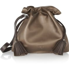 Loewe Flamenco 30 leather shoulder bag ($1,840) ❤ liked on Polyvore featuring bags, handbags, shoulder bags, purses, bolsas, brown, handbags purses, brown purse, brown shoulder bag and man shoulder bag