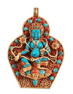 god of wealth, kubera Tibetan Jewelry, Ethnic Jewelry, Antique Jewelry, Collar Indio, American Indian Jewelry, Coral Turquoise, Ancient Art, Sterling Silver Earrings, Fashion Jewelry