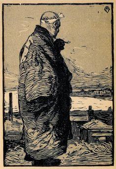 """Woodcut """"Fisherman"""" by Yamamoto Kanae 1904"""