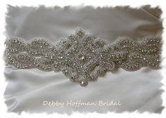 Beaded Rhinestone Crystal Bridal Belt 26 by DebbyHoffmanBridal