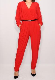 Red jumpsuit Long sleeve jumpsuit Batwing jumpsuit by dresslike on Etsy https://www.etsy.com/uk/listing/241327079/red-jumpsuit-long-sleeve-jumpsuit