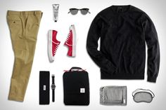 Converse Jack Purcell Signature Sneakers ($95). Albam Made in England Slim Chino ($193). J.Crew Slim Sweater ($60). Topo Designs Pack Bag ($36). Garrett Leight California Sunglasses ($310). Tsovet JPT-NT42 Watch ($200). Alpaca Travel Kit ($322). Buckler's Chapped Skin Remedy ($19)....