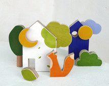El zorro y las casitas de madera - juguete para niños con bloques de madera y…