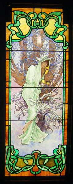 "The Four Seasons: Winter, stained glass by Alphonse Mucha. Mucha visited Chicago between 1906 and 1909, and may have executed this version of ""The Four Seasons"" while there in 1906, or they may have been done by one of his students 