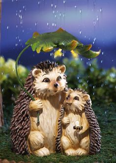 (WANT WANT WANT!!!) Rainy Day Hedgehogs Solar Lighted Garden Sculpture $14.99