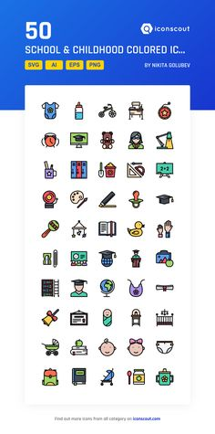 School Childhood Colored Icon Pack