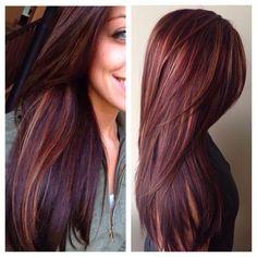 24 Hottest Dark Auburn Hair Color Ideas of 2019 - Style My Hairs Hair Color Auburn, Hair Color Highlights, Auburn Hair, Red Hair Color, Hair Color Balayage, Burgundy Hair With Highlights, Dark Red Hair Burgundy, Fall Highlights, Auburn Brown