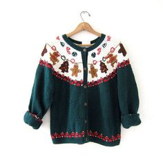 vintage ugly Christmas sweater / tacky christmas cardigan sweater / holiday party sweater with Ginger Bread Men