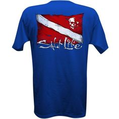 Salt Life Royal Blue Dive Flag And Skull Tee ($20) ❤ liked on Polyvore featuring men's fashion, men's clothing, men's shirts, men's t-shirts, royal blue, mens skull t shirts, mens cotton shirts, mens skull shirts, royal blue mens shirt and mens cotton t shirts