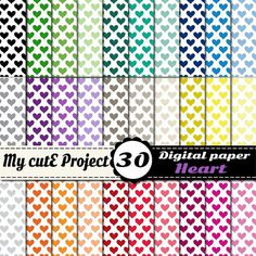 Heart multicolored  Instant Download  DIGITAL by Mycuteproject