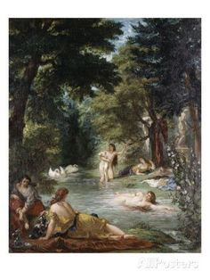 Turkish Women Bathing Giclee Print by Eugene Delacroix at AllPosters.com..