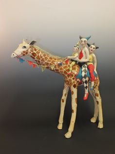 Circus Giraffe Ceramic By Marie Prett Art Sculpture, Animal Sculptures, Ceramic Sculptures, Circus Art, Clay Animals, Whimsical Art, Surreal Art, Clay Art, Ceramic Art