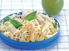 Pasta with Chicken, Garlic, and Basil
