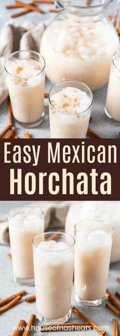 This Horchata Mexican drink recipe is a a slightly creamy, non-alcoholic agua fr. - This Horchata Mexican drink recipe is a a slightly creamy, non-alcoholic agua fresca flavor made wi - Agua Horchata, Horchata Mexican Drink Recipe, Horchata Recipe With Rice Milk, Mexican Punch Recipe, Homemade Horchata, Homemade Vanilla, Mexican Drinks, Breakfast, Cocktail