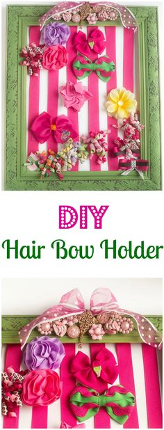 DIY Hair Bow Holder - Make a hair bow holder for less than $20 in custom colors to match your daughter's bedroom. It's a great baby shower gift too!