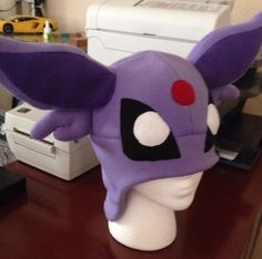 Pokemon Espeon Fleece Hat Cosplay Cap Halloween Costume Ski Cap Eevee Purple | eBay
