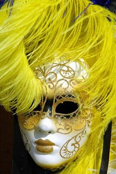 A mask, yellow and white