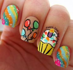 Adorable birthday nails