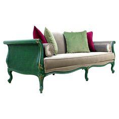 Gabriel Country Green Wicker Sofa | ACHICA