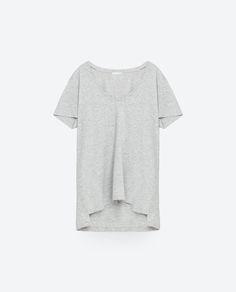 STRIPED ORGANIC COTTON T-SHIRT-Short sleeve-T-SHIRTS-WOMAN   ZARA United States
