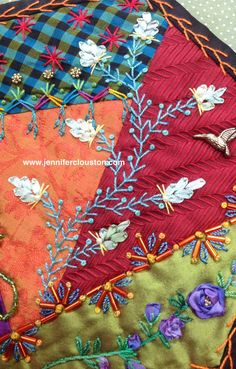 Crazy quilting, embroidery, beading