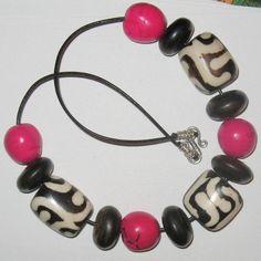 Batik Bone and Fuchsia Buri Nut Bead Necklace by ColieArt on Etsy