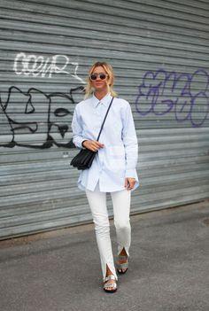striped shirt + white pants + silver sandals