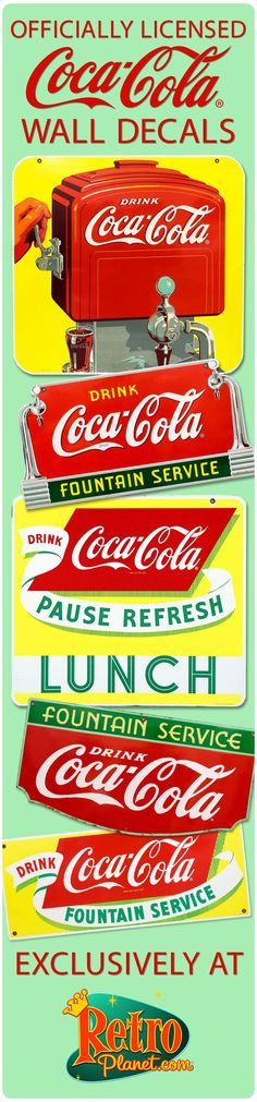 Decorate your walls or other nonporous surface with Coca-Cola, the Real Thing! We are officially licensed and print our decals right here, in the USA.