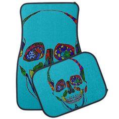 Colorful Inked Sugar Skull Mosaic Car Mats #artwork #gifts #carmats #skulls