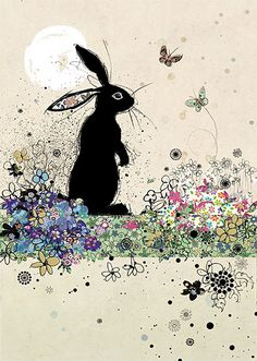 Garden Rabbit by Jane Crowther. Design for Bug Art greeting cards.