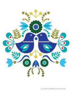 Folk Embroidery Patterns Scandinavian Folk Art Spring Blue love bird flower-Art Print Paper size: X 5 X 7 Image size: Centered on the paper The image is printed - Art Floral, Arte Popular, Folk Embroidery, Embroidery Patterns, Hungarian Embroidery, Tatoo Brothers, Tatoo Bird, Kunst Tattoos, Polish Folk Art
