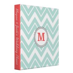 Mint Chevron Vinyl Binder