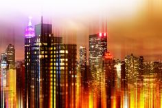 Urban Stretch Series - Landscape of Manhattan at Night - New York Photographic Print by Philippe Hugonnard at AllPosters.com