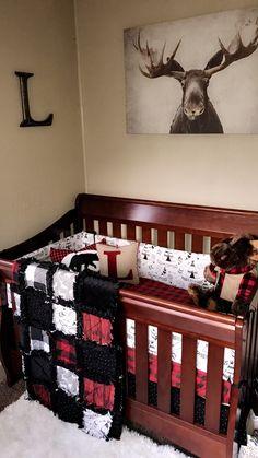 Want that moose picture! Baby Bedroom, Baby Boy Rooms, Baby Room Decor, Baby Boy Nurseries, Moose Nursery, Plaid Nursery, Nursery Room, Moose Baby Shower, Woodland Baby