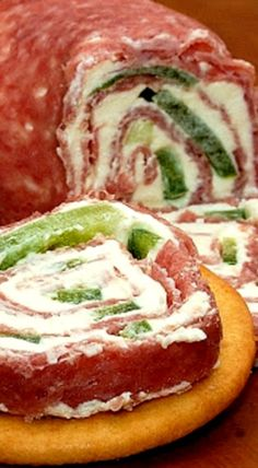 Salami and Cream Cheese Roll-ups - these are fabulous as is but feel free to add additional ingredients to or instead of the green pepper, such as jalapeno, shredded cheddar, thinly sliced swiss, or hot pepper cheese depending on your mood. ❊