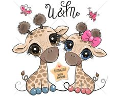 Cartoon giraffes on a flowers background vector Cartoon Giraffe, Cute Giraffe, Cute Cartoon, Cartoon Baby Animals, Baby Girl Clipart, Clipart Png, Cute Animal Illustration, Baby Clip Art, Flower Backgrounds