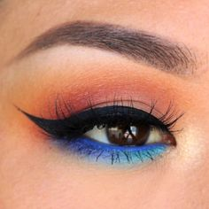 Chickadee as transition Mango Tango & Poppy in the crease Bitten in the outer V Creme Brûlée on the lid Poolside and Center Stage over Colbalt full spe